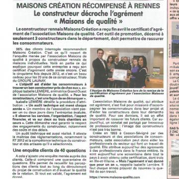 Le journal 7 Jours - Les petites affiches de Bretagne a publié un article sur Maisons Création et l'agrément Maisons de Qualité