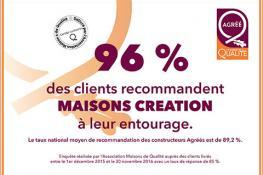 96% de nos clients recommandent Maisons Création à leur entourage