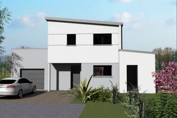 Maison Moderne Contemporaine Design Monopente Zinc Bardage bois Blanc Gris