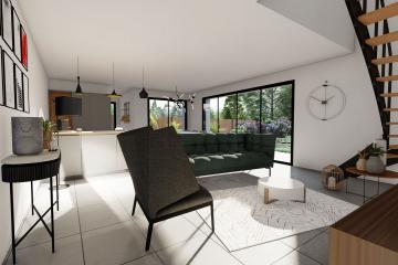 Maison Bi-Pente Ardoise Modern Contemporaine Design Blanc Bardage bois claire-voie