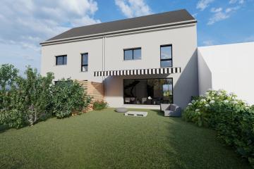 Maison Bi-Pente Ardoise Zinc Anthracite Modern Contemporaine Design Blanc