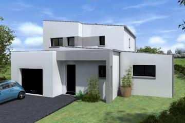 Maison porche d'entrée garage bandeaux monopente